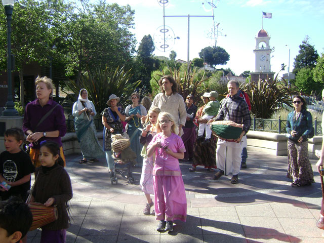14-Everyone went downtown to Pacific Avenue for harinam sankirtan